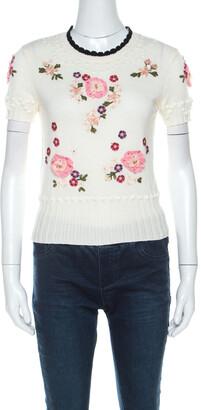 RED Valentino Cream Floral Applique Cotton Knit Top S