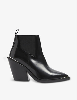 The Kooples Pointed-toe western-style leather Chelsea boots