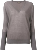N.Peal ribbed sleeve V-neck top - women - Silk/Cashmere - M