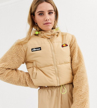 Ellesse cropped padded jacket with sherpa sleeves-Beige