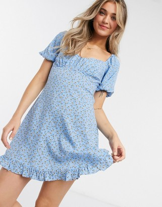 Miss Selfridge mini dress with square neck in blue floral