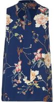 River Island Womens Blue floral D-ring tie neck sleeveless top