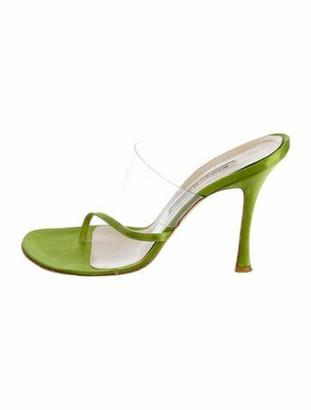 Manolo Blahnik Satin Thong Sandals Green