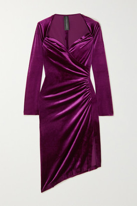 Norma Kamali Asymmetric Wrap-effect Ruched Stretch-velvet Dress - Pink