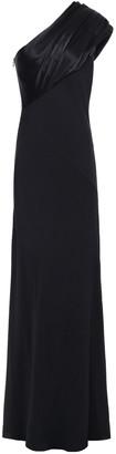 Lanvin One-shoulder Satin-paneled Silk-crepe Gown