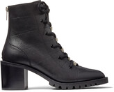 Jimmy Choo BREN 65 Black Grained Leather Ankle Boots with Crystal Trim