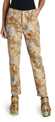 Dries Van Noten Perry Floral Brocade Straight-Leg Pants