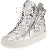 Giuseppe Zanotti Men's Leather High-Top Sneaker with Wings=