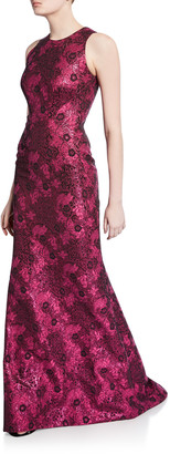 Zac Posen Metallic Jacquard Sleeveless Gown