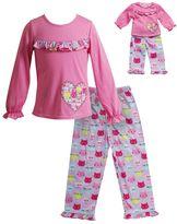 Dollie & Me Girls 4-14 Ruffle Cat Pajama Set