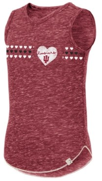 Colosseum Big Girls Indiana Hoosiers Distressed Heart Tank Top
