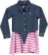 U.S. Polo Assn. Girl's 2-Piece Set Striped Knit Dress