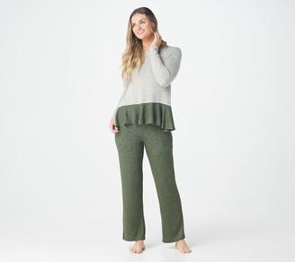 Cuddl Duds SoftKnit Ruffled Hem Crew Top & Pant Pajama Set