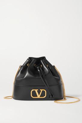 Valentino Vlogo Leather Bucket Bag - Black