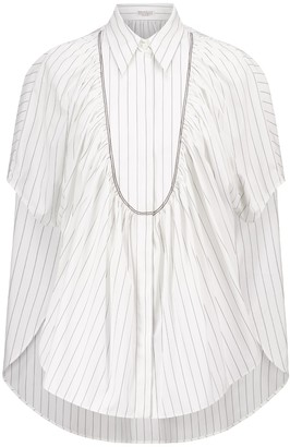 Brunello Cucinelli Embellished striped cotton shirt