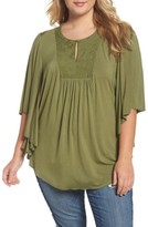 Melissa McCarthy Plus Size Women's Embroidered Bib Top