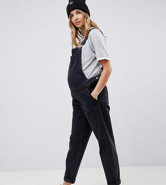 Asos DESIGN Maternity denim dungaree in washed black