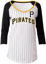 5th & Ocean Women's Pittsburgh Pirates Pinstripe Glitter Raglan T-Shirt