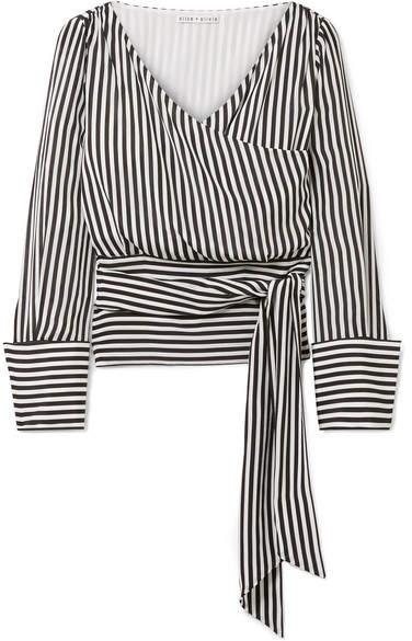 Alice + Olivia Alice Olivia - Alba Striped Silk Wrap Blouse - Black