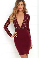 LuLu*s Swoon-er or Later Burgundy Long Sleeve Lace Dress