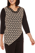 Alfred Dunner Madison Park 3/4-Sleeve Texture Asymmetrical Top