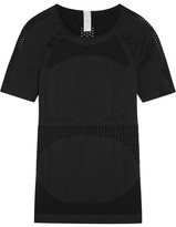 adidas by Stella McCartney Perforated Stretch-jersey T-shirt - Black
