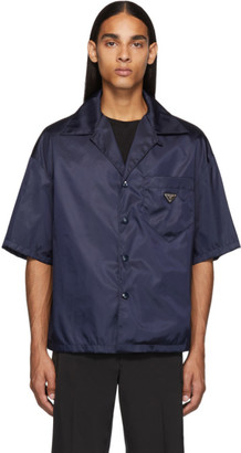 Prada Navy Nylon Gabardine Short Sleeve Shirt