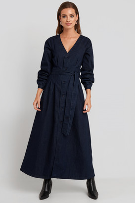 NA-KD Long Sleeve Denim Dress Blue