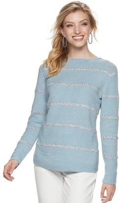 Apt. 9 Petite High-Low Hem Crewneck Lurex Sweater