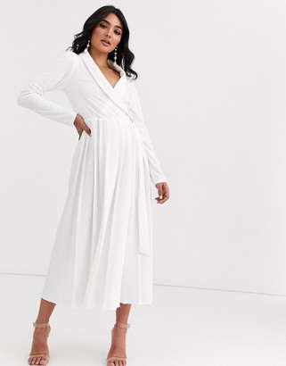 Asos DESIGN Long sleeve midi shirt dress with pleated skirt and buckle detail