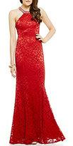B. Darlin Embellished Neckline Lace Long Mermaid Dress