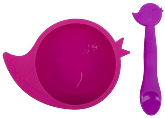 Kushies Silibowl Silicone Bowl and Soon Set - Pink Bird