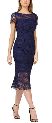 Kay Unger Tatum Textured Lace Midi Dress