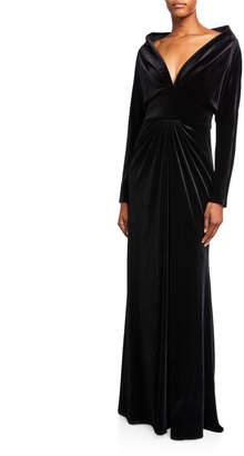 Tadashi Shoji Deep V-Neck Long-Sleeve Velvet Gown