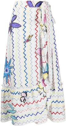 Mira Mikati Linen Wrap-Style Long Skirt