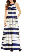 Eliza J Stripe Halter Ball Gown