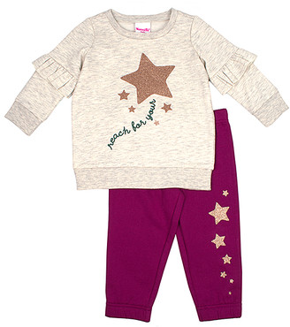 Nannette Kids Girls' Sweatpants BEIGE - Beige 'Reach for Your' Star Top & Fuchsia Joggers - Girls