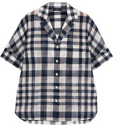Theory Ralfinn Plaid Cotton-voile Shirt - Midnight blue