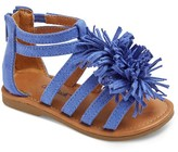 Cat & Jack Toddler Girls' Peggy Gladiator Sandals With Large Fringe Poufs Cat & Jack - Blue