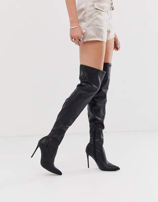 Truffle Collection black PU stretch over the knee heeled boots