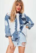 Missguided Drop Shoulder Denim Jacket Blue