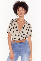 Womens One More Button Hurt Polka Dot Blouse - beige - 10