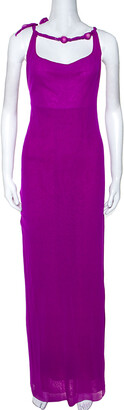 Jean Paul Gaultier Soleil Purple Stretch Beaded Neck Detail Maxi Dress L