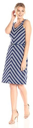 Lark & Ro Women's Sleeveless Fit and Flare Dress with Belt