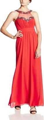 Little Mistress Women's Embellished Trim Maxi Plain Sleeveless Dress