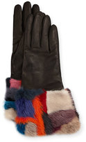 Gepa Gloves for Neiman Marcus Patchwork Fur-Cuff Gloves, Black/Blue/Multicolor