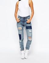 Missguided High Rise Patched Ripped Slim Jean