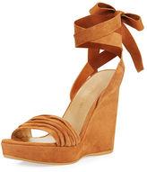 Stuart Weitzman Swiftsong Suede Ankle-Wrap Wedge Sandal