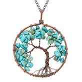 Jane Stone Fashion Tree of Life Pendant Necklace Handmade Gemstone Beads Chakra Statement Jewelry for Women Mothers Day Gift