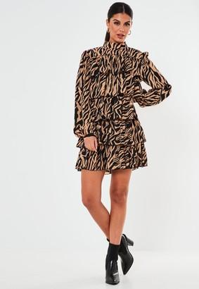 Missguided Stone Zebra Tiered High Neck Smock Dress